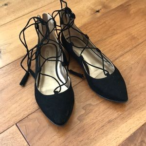 Lace up suede black flats with pointed toe